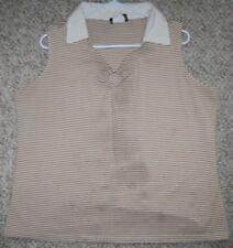 Fashion Bug White Tan Cotton Sleeveless Polo Tee T-Shirt XL 18/20 Extra Large