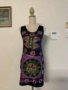 Ice Sequinned Bedazzled Embellished Colourful Iridescent Dress Size 8
