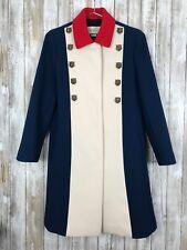 $3,600 GUCCI Red White Blue Color Block Feline A-Line Wool Coat Kellyanne 44 S