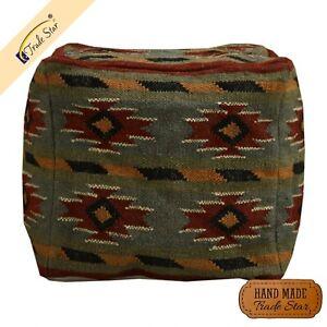 "Authentic Kilim Ottoman Pouf Cover 18"" Boho Footstool Cover Handmade Pouffe Case"