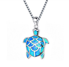 Woman 925 Silver Turtle Blue Fire Opal Charm Pendant Necklace Jewelry Beach Gift