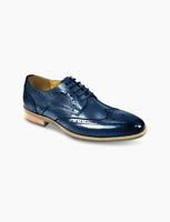 AZOR Hommes Semi - Carré Venise Bout D'Aile Lacet Chaussures Marine UK 7 Pour 12