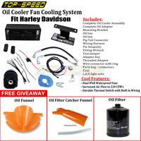 Black Reefer Oil Cooler Fan Cooling System For Harley Davidson Touring 2009-2016