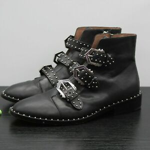 Gianni Bini Women's Black Leather Harley Studded Buckles Ankle Boots Size 8.5 M