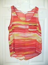 Forever 21 Essentials Sz M Bright Striped Tank Top Sleeveless Shirt Blouse