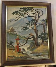 ORIENTAL SCENERY PAINT BY NUMBER FRAMED ASIAN THEMED PAINTING PAGODA MOUNTAINS