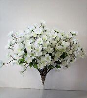 Set of 12 White Artificial Cherry Blossoms Spray - 36cm - White Flowers Blossom