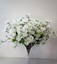 Set of 12 White Artificial Cherry Blossoms Spray