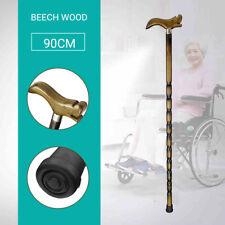 90cm Walking Stick Old Man Cane Pole Carved Nob Slip Beech Wood Vintage Gift !