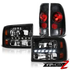 1999-2004 Ford F250 F350 SuperDuty Black LED Signal Headlights Rear Tail Lights