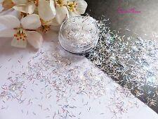 NAIL ART * * Lightning Bianco Argento Luce Tiny STRISCIA Decorazioni Bar luccichio Spangle Pot