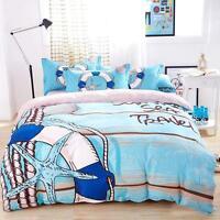Single Double Queen King Bed Set Pillowcase Quilt Duvet Cover Sea Travel L