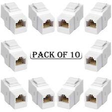 10x Cat5E RJ45 F/F Ethernet Network Coupler Snap-In Jack For Keystone Wall Plate