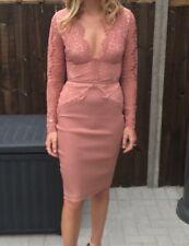 Rare London limited edition pink lace midi bodycon dress