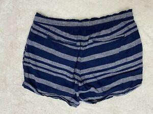 Old Navy Womens Linen Blend Blue Stripe Pull On Shorts Elastic Waist Medium