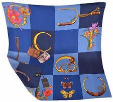 New Gucci Butterflies Handbags Horsebit Pattern Silk Twill Square Scarf 35 x 35