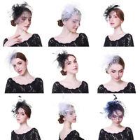 Ladies Mesh Feather Hair Clips Headband Fascinators Cocktail Veil Net Costume
