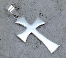 LARGE STERLING SILVER HIGH POLISH GOTHIC CROSS PENDANT  style# p0921