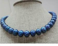 "Huge18""11-12mm natural south sea genuine black blue perfect round pearl necklace"