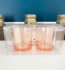 Kate Spade New York Gold Dot Drinkware Set of 2 Acrylic Lowball Glasses 12oz NIB