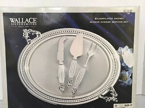 Wallace Silversmiths Silver plated Danish 4- Piece Cheese Server Set