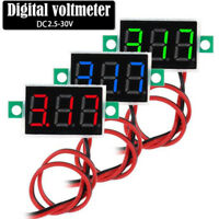 2-Wires Mini DC 2.5-30V Voltmeter LED Panel 3-Digital Display Voltage Meter3c