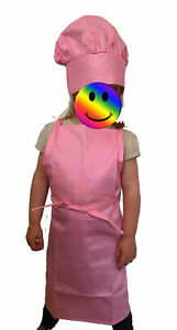 Kids Chef Apron and Hat Set Children Kitchen Cooking Baking Cook Play Gift Pink