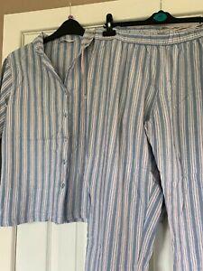 M & S Ladies Blue Striped Pyjama Set- Size 14