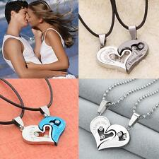 Hombres Mujer Inoxidable Acero Amante Pareja Amo Corazón Forma Colgante Collar