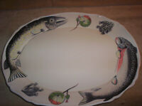 Vintage Eddie Bauer Outdoor Large Fish, Trout, Platter Made in Japan 18 by 14 in