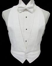 Boys White Pique Open Back Tuxedo Vest & Bow Tie Wedding Ringbearer Formal