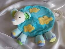 Doudou éléphant bleu, tâches jaunes, anneau de dentition, plat, Babysun