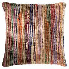 Fair Trade Cotton Jute Chindi Rag Rug Cushion Cover Recycled Boho Bohemian 45cm