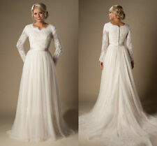 Modest A Line Lace Tulle Wedding Dress V Neck Long Sleeve Bridal Gown Custom