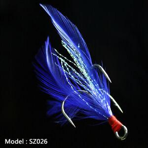 20pcs Fishing Hooks Treble With Feather Minnow Fishing Lures Crankbaits SZ26 6#