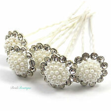 Bridal Wedding Vintage Style Silver Diamante & Pearl Flower Hair Pins Clips HP05