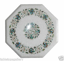 """16""""x16"""" White Marble End Corner Coffee Table Top Inlay Marquetry Home Decor H011"""