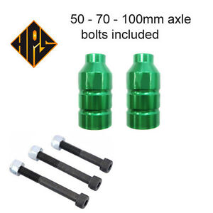 2  QUALITY GREEN PRO STUNT SCOOTER PEGS 100 110 METAL CORE WHEELS FORK GRIPTAPE