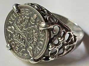 Vintage Art Deco 1934 sterling silver 3 pence coin sovereign ring band size O