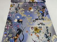 ☻ Stoff Baumwoll Stretch mit bunten Designer Blumen Druck blau grau bunt ☻