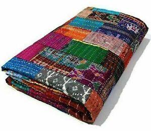 Silk Kantha Quilt Vintage Silk Patch Work Coverlet Bedspreads Throw Blanket