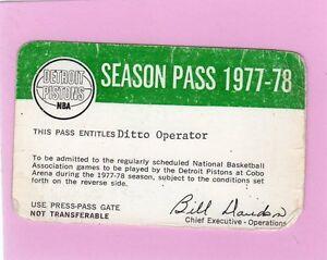 1977-78 Detroit Pistons Ticket Pass Bernard King Debut/New Jersey Nets/ HOF Vg