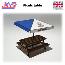 Slot Car Scenery Track Side Picnic Table and Umbrella Pub Bench Blue 1:32 WASP