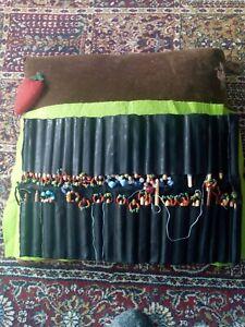 Lacemaking stater bundle - Pillow, 50+ wooden bobbins, tool, case