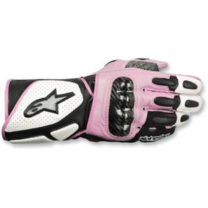 Alpinestars Women's Medium Stella SP-2 White/Black/Pink Motorcycle Gloves