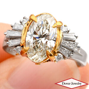 Estate Oval 2.00ct Natural Yellow Diamond Platinum Gold Engagement Ring 5.8 G NR
