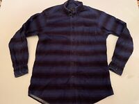 Woolrich Long Sleeve Button Shirt Large Cotton Navy Blue Stripe Flannel Warm L