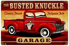 Busted Knuckle Garage Hot Rod Truck Retro Metal Sign Man Cave Shop Club BUST028