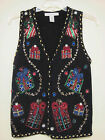 Womens Black UGLY Christmas Vest Beaded Sequin & Bead Design Size Small EUC!!!