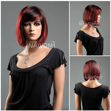 Female black and red BOBO Wig Mannequin Head Hair #WG-S1325-1TT39